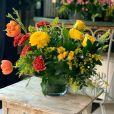 Cristal Detalle Floral Amarillo Naranja